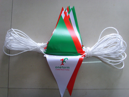 China Polyester Bunting Triangle Pennant Banner Small Size Installed At Heavy Duty Rope supplier