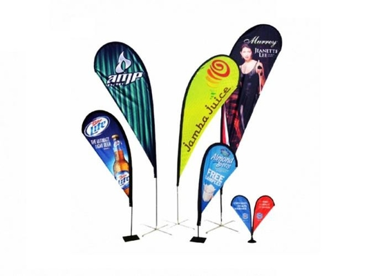 China Attractive Custom Printed Advertising Flags / Feather Shape Decorative Flag Pole Flags supplier