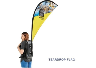 China Rectangle Shape Aluminum Backpack Flags , Human Street Walking Personalized Feather Flags supplier