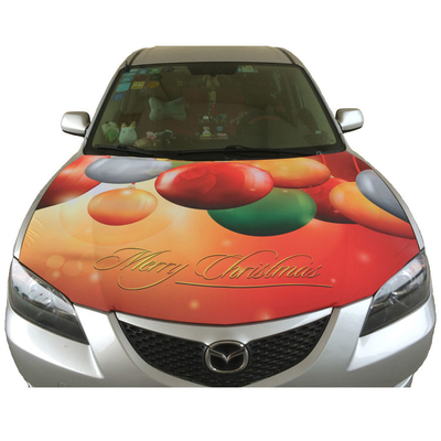 China Merry Christmas Theme Car Hood Covers Digital Colorful Printing Car Hood Flags supplier