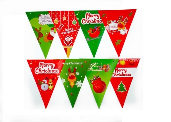 China Christmas Pennant String Flags Heat Tranfer Printing UV Protection OEM Offered supplier