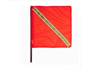China Orange Outdoor Traffic Safety Flag PVC Fabric 46cm With Reflective Tape supplier