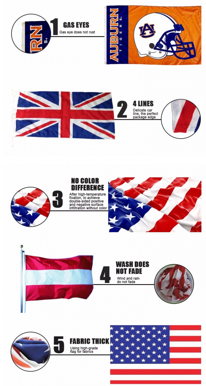 National Custom Polyester Flags Pantone Color Use In Sports Competition