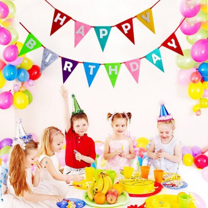 Decorative Pennant String Flags Eco - Friendly Birthday Theme Colorful For Party