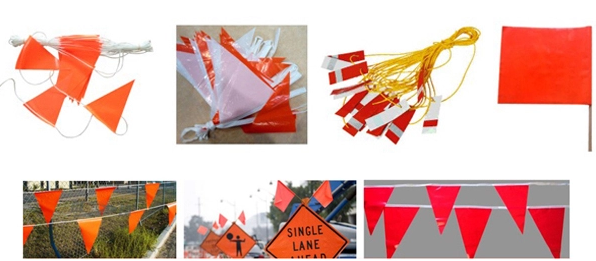Outdoor Waterproof Traffic Safety Flags PVC With Reflective Tape 30*30cm