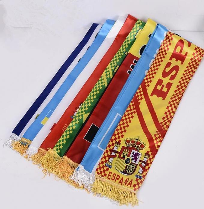 Polyester Satin Printing Sports Team Scarves , Promotional Custom Sports Scarves