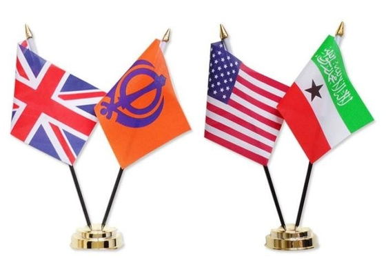 National Miniature Table Flags BSCI Certification , Desktop American Flag With Stand
