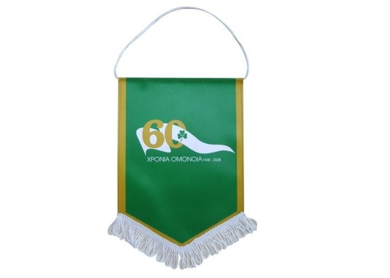 Custom Polyester Personalized Wall Banners Hanging Type 23*38cm With Tassels