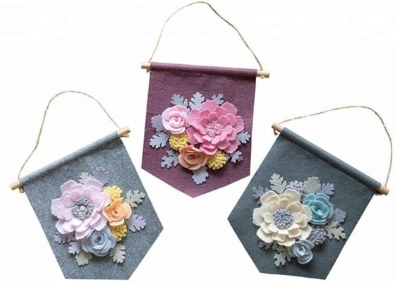 Handmade Felt Wall Hanging Banner Decorative 9.5*9.5 Inch With Flower Decor